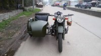 Classic army green 750cc motorcycle sidecar