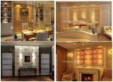Embossed 3D Non-Woven Wallpaper leather wall panels with good-looking 1050