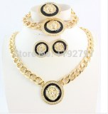 New  Product Gold Plated Enameled Lion Head Necklace Earrings Ring Bracelet Cheap...