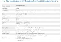 4X2 Dongfeng 5m3 Hook Lift Garbage Trucks