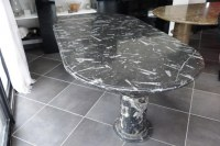 TABLE oval fossilized marble