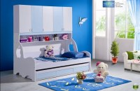 2pcs MDF Panels Children Wardrobe Bunk Bed with Drawer