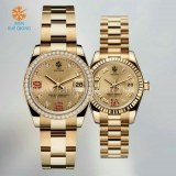 Luxury gold stainless steel watches for men and lady