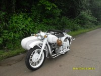 Customized 750cc white color with grey stripe motorcycle sidecar