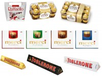Raffaello 150g, Ferrero Rocher 200g/375g, Nutella B-Ready, Merci, Toblerone