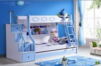 3pcs MDF Panels Children Bunk Bed with Stairs and Drawer