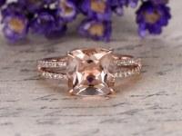 8x8 Cushion Morganite Engagement Ring Diamond Promise Ring 14k Rose Gold Stacking Band