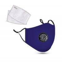 PM2.5M: Masque en Coton Lavable Avec Filtres en Carbone 2 Bleu