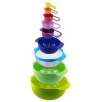 Herzberg HG-BOL9N1FS: Ensemble de bols et tasses à mesurer 9 en 1