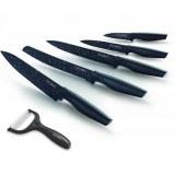 Royalty Line RL-MB5; Set de couteaux de revêtement anti-adhésif5PCS Noire
