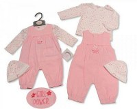 Baby Girls Woven 2 Pieces Dungaree Set with Hat - Girl Power
