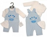Baby Boys 2 Pieces Dungaree Set with Hat - Giraffe