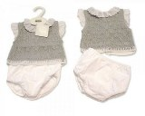 Knitted Baby 2 Pieces Set with Lace Collar and Sleeves
