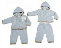 Knitted Baby Boys Hooded 2 Pieces Set