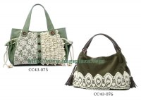 Nice quality lace green tote bags,lady handbag