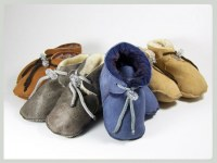 Baby shoes leather and fur Merino Lamb