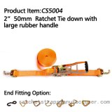 """CS5004 2"""" 50mm Ratchet Tie down with large rubber handle"""