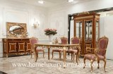 Antique Europe Style wooden furniture diningroom sets table chairs buffet cabinet FT-128