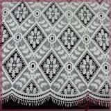 White geometric eyelash embroidery chemical lace with fringe