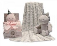 Baby Unicorn Toy with Blanket in Box - Stars