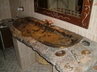 Sink single fossilized marble