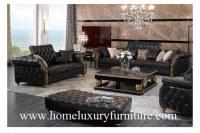 Leather sofa classical sofa sets black leather sofas wooden living room furniture TI-003