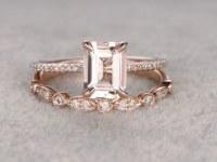 Morganite Rose Gold Wedding Set Diamond Half Eternity Ring 6x8mm Emerald Cut Art Deco...