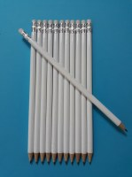 Lot wooden pencils with new eraser