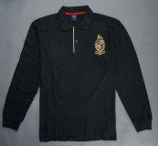 Manufacturing men long sleeve polo with embroidery from China