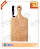 Rubber wood chopping board with streamlined handle plus S/S cheese knife