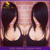 Top quality hot Brazilian lace front bob cut wigs 100% natural human hair short cut lac...