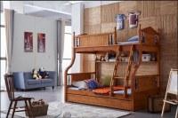 Bunk Beds Oak Wood Kindergarten Furniture With Stairs Kids Bedroom Sets