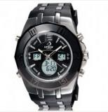 Montre chrono pour homme noir, bracelet silicone et metal