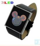 Grossiste, fournisseur et fabricant lw22/cute multicolor 34 led binary digital leather wrist watc...