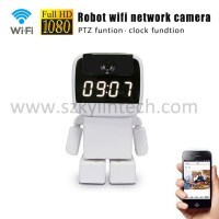 Robot wifi cctv ip wireless camera with alarm clock