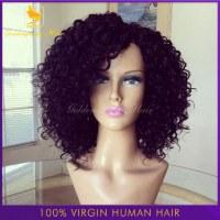 7A Brazilian Glueless full lace human hair wigs short kinky curly wig virgin hair lace...