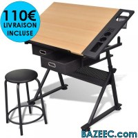 Table à dessin inclinable 2 tiroirs et tabouret pièces LIVRAISON GRATUITE