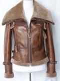 Bomber jacket woman leather and fur Lamb Lamb Merino